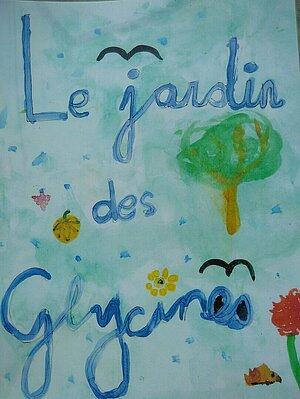 Dessin d'enfant sur lequel il est écrit « Jardin des Glycines »