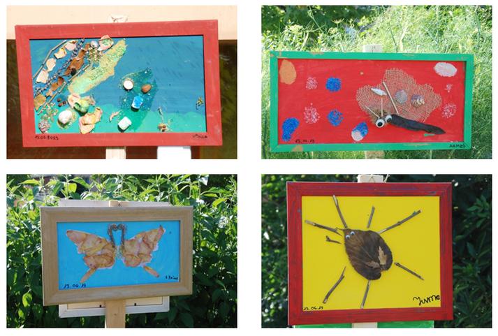 Quatre bricolages d'enfants représentant des insectes à partir de matériaux naturels