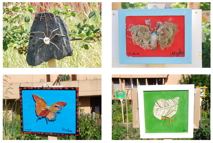 Quatre bricolages d'enfants représentant des animaux à partir de matières naturelles : deux papillons, une araignée et une poule