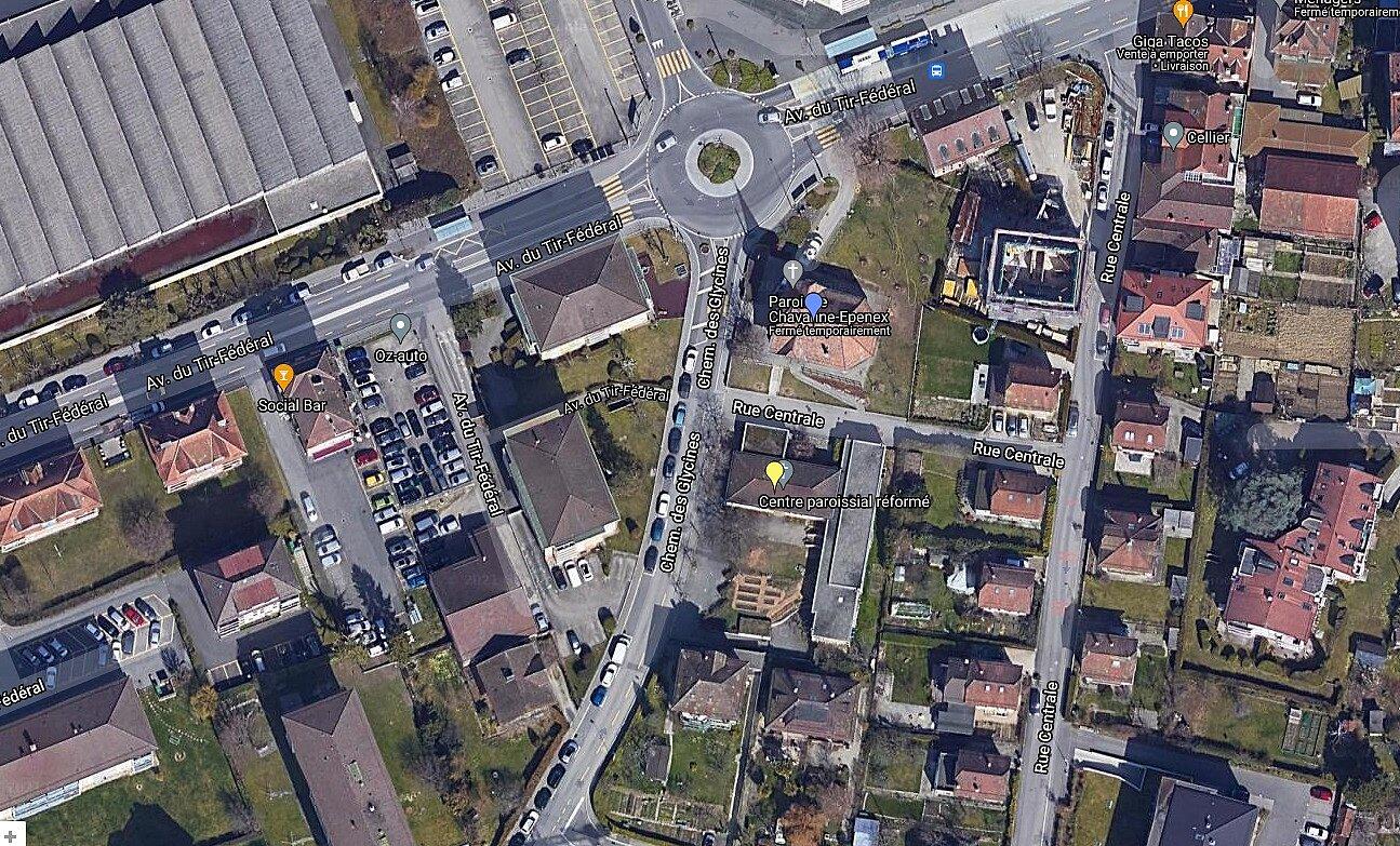 Vue Google Maps montrant où se situent le temple et le centre paroissial