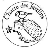 Logo de la Charte des Jardins : oiseau perché sur le dos d'un hérisson